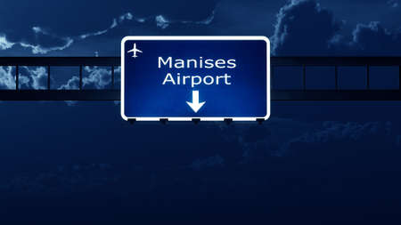 valencia: Valencia Manises Spain Airport Highway Road Sign at Night 3D Illustration
