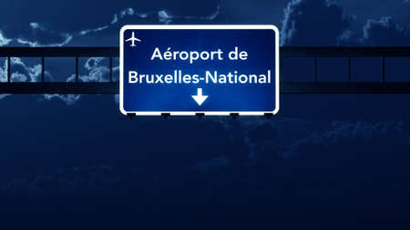 nightfall: Brussels Belgium Airport Highway Road Sign 3D Illustration