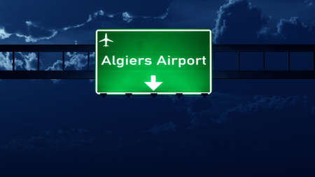 alger: Algiers Algeria Airport Highway Road Sign at Night 3D Illustration Stock Photo