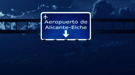 highway at night: Alicante Spain Airport Highway Road Sign at Night 3D Illustration Stock Photo