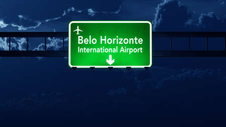 highway at night: Belo Horizonte Brazil Airport Highway Road Sign 3D Illustration at Night