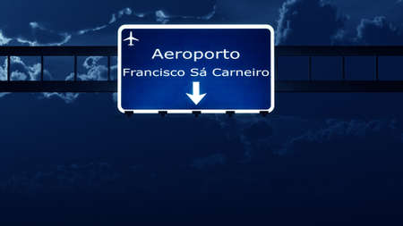 Porto Portugal Airport Highway Road Sign at Night 3D Illustration