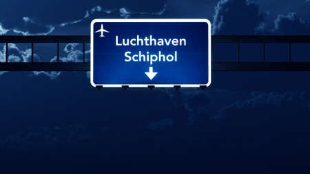 schiphol: Amsterdam Schiphol Netherlands Airport Highway Road Sign at Night 3D Illustration Stock Photo