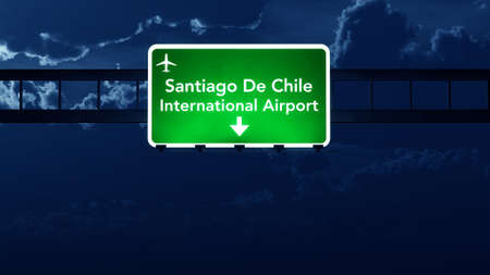 nightfall: Santiago Chile Airport Highway Road Sign at Night 3D Illustration Stock Photo