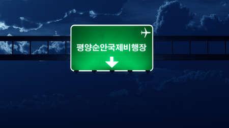 pyongyang: Pyongyang North Korea Airport Highway Road Sign at Night 3D Illustration