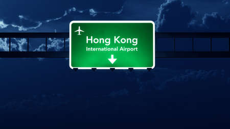 hong kong night: Hong Kong China Airport Highway Road Sign at Night 3D Illustration Stock Photo