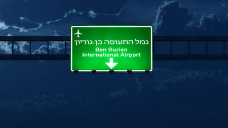 tel: Tel Aviv Israel Airport Highway Road Sign at Night 3D Illustration