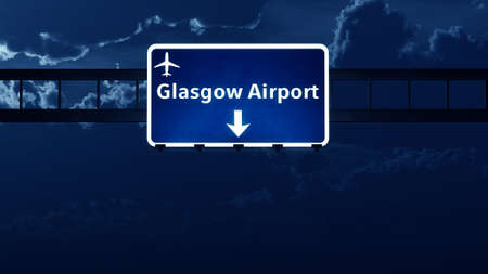 scotish: Glasgow Scotland UK Airport Highway Road Sign at Night 3D Illustration Stock Photo