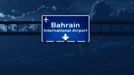 bahrain: Bahrain Airport Highway Road Sign at Night 3D Illustration