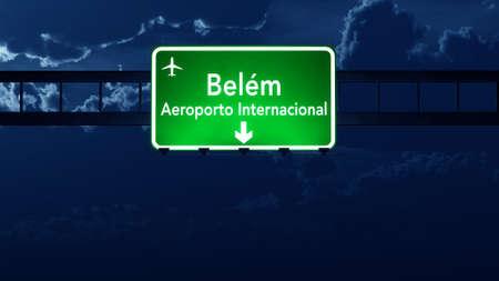 belem: Belem Brazil Airport Highway Road Sign 3D Illustration at Night