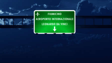 roma: Roma Fiumicino Italy Airport Highway Road Sign at Night 3D Illustration