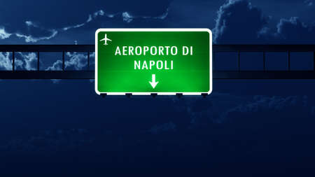 highway night: Napoli Italy Airport Highway Road Sign at Night 3D Illustration Stock Photo