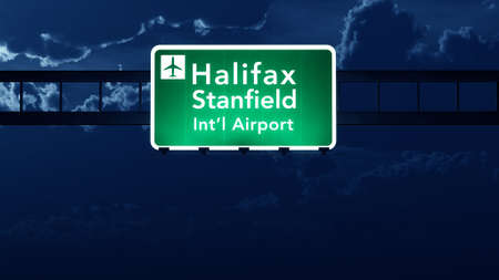 nightfall: Halifax Stanfield Canada Airport Highway Road Sign at Night 3D Illustration Stock Photo