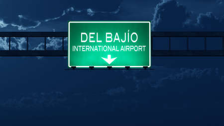 nightfall: Leon Mexico Airport Highway Road Sign at Night 3D Illustration