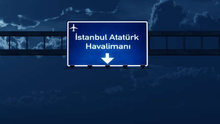 ataturk: Istanbul Ataturk Turkey Airport Highway Road Sign at Night 3D Illustration
