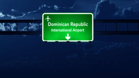 dominican: Dominican Republic Airport Highway Road Sign at Night 3D Illustration