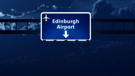 scotish: Edinburgh Scotland UK Airport Highway Road Sign at Night 3D Illustration