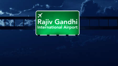 nightfall: Hyderabad India Airport Highway Road Sign at Night 3D Illustration