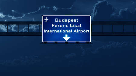 road night: Budapest Hungary Airport Highway Road Sign at Night 3D Illustration