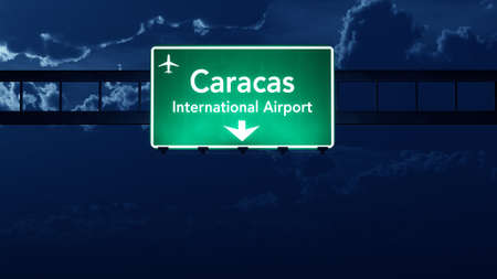 highway at night: Caracas Venezuela Airport Highway Road Sign at Night 3D Illustration