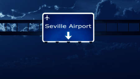 Sevilla Spain Airport Highway Road Sign at Night 3D Illustration