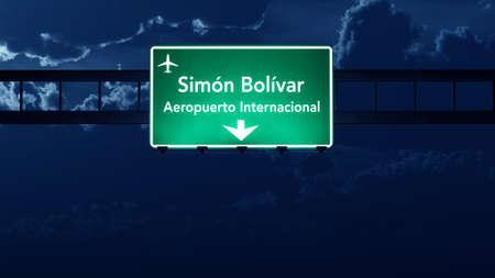 caracas: Caracas Venezuela Airport Highway Road Sign at Night 3D Illustration