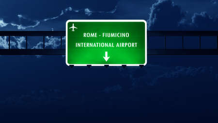 highway night: Roma Fiumicino Italy Airport Highway Road Sign at Night 3D Illustration