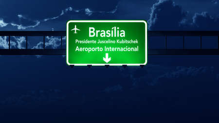 brasilia: Brasilia Brazil Airport Highway Road Sign 3D Illustration at Night Stock Photo
