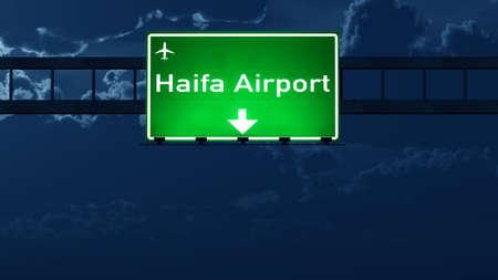 nightfall: Haifa Israel Airport Highway Road Sign at Night 3D Illustration Stock Photo