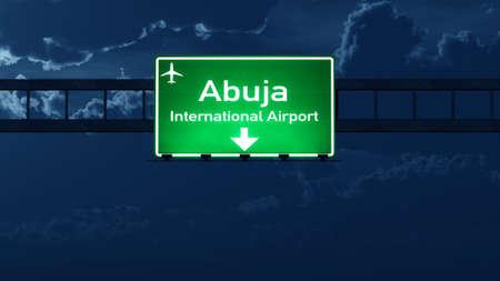 Abuja Nigeria Airport Highway Road Sign at Night 3D Illustration