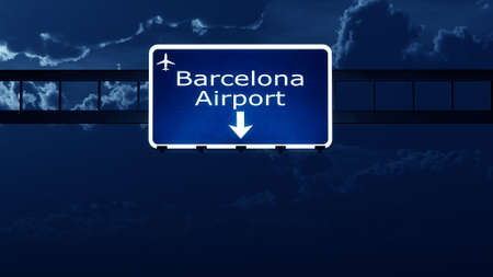 barcelona  spain: Barcelona Spain Airport Highway Road Sign at Night 3D Illustration