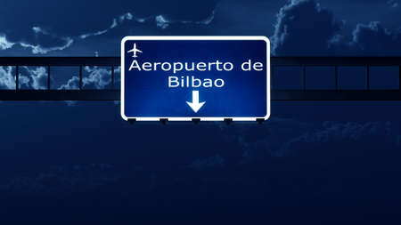 bilbao: Bilbao Spain Airport Highway Road Sign at Night 3D Illustration