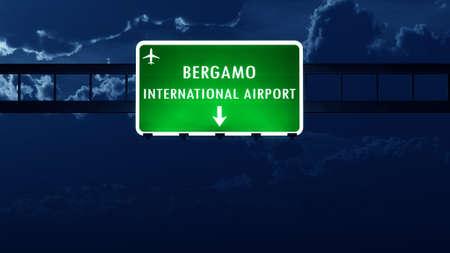 road night: Bergamo Italy Airport Highway Road Sign at Night 3D Illustration