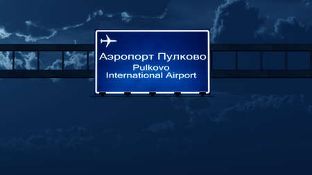 petersburg: Saint Petersburg Pulkovo Russia Airport Highway Road Sign at Night 3D Illustration