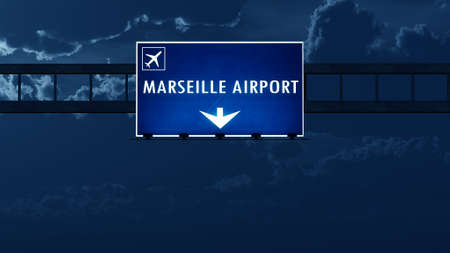 french board: Marseille France Airport Highway Road Sign at Night 3D Illustration Stock Photo