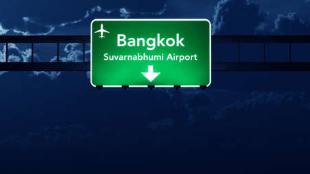 highway sign: Bangkok Thailand Airport Highway Road Sign at Night 3D Illustration