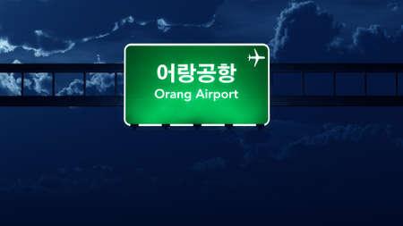 nightfall: Orang North Korea Airport Highway Road Sign at Night 3D Illustration