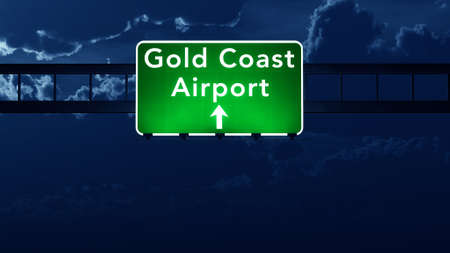 gold road: Gold Coast Australia Airport Highway Road Sign 3D Illustration at Night