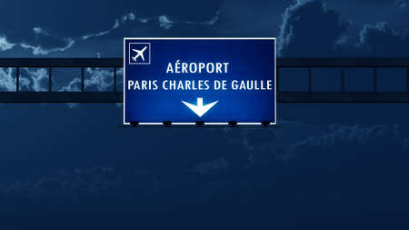 gaulle: Paris Roissy De Gaulle France Airport Highway Road Sign at Night 3D Illustration