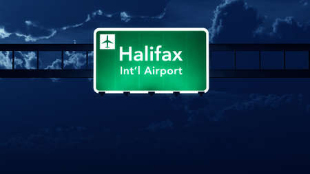 halifax: Halifax Stanfield Canada Airport Highway Road Sign at Night 3D Illustration Stock Photo
