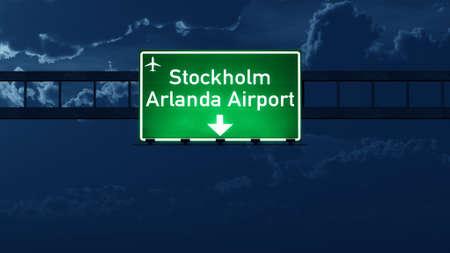 highway night: Stockholm Sweden Airport Highway Road Sign at Night 3D Illustration