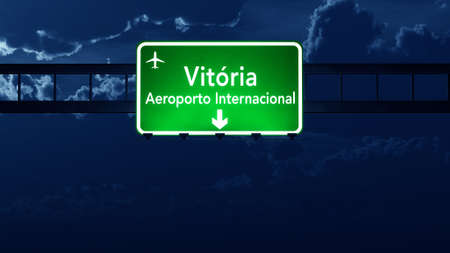 vitoria: Vitoria Brazil Airport Highway Road Sign 3D Illustration at Night