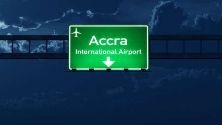 highway night: Accra Ghana Airport Highway Road Sign at Night 3D Illustration