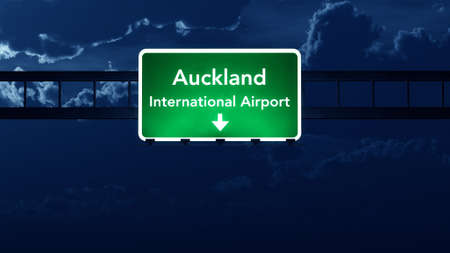 highway at night: Auckland Airport Highway Road Sign at Night 3D Illustration