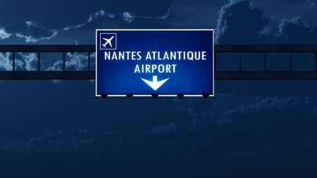 highway night: Nantes France Airport Highway Road Sign at Night 3D Illustration