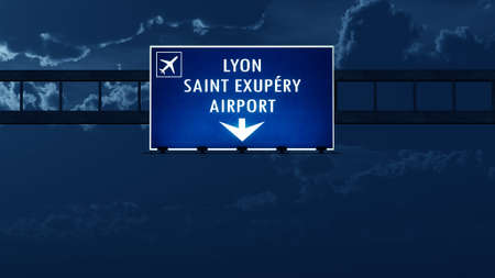 highway night: Lyon France Airport Highway Road Sign at Night 3D Illustration