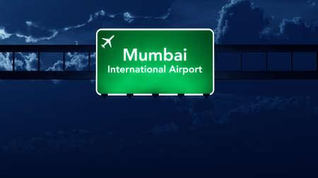 highway night: Mumbai India Airport Highway Road Sign at Night 3D Illustration Stock Photo