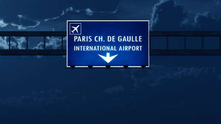 highway at night: Paris Roissy De Gaulle France Airport Highway Road Sign at Night 3D Illustration