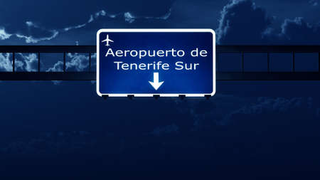 road night: Tenerife Spain Airport Highway Road Sign at Night 3D Illustration Stock Photo
