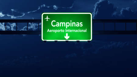 highway at night: Campinas Brazil Airport Highway Road Sign 3D Illustration at Night Stock Photo